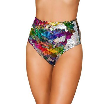 Two-Tone High Waisted Sequin Shorts