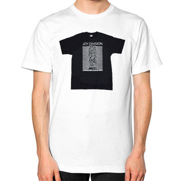 Joy Division - Unknown Pleasures Unisex T-Shirt (on man)