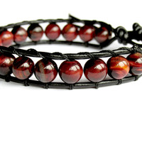 Red Tiger Eye Bracelet, Leather Wrap Bracelet, Chan Luu, Unisex Bracelet, Beaded Bracelet, Gift for Him, Gemstone Bracelet, Gift for Her