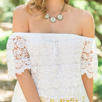Carolina White Off the Shoulder Crochet Top by Lush