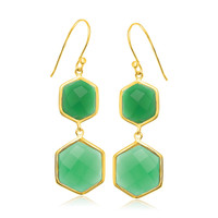 Sterling Silver Yellow Gold Plated Hexagon Green Onyx Dangling Earrings