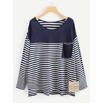 Curvy Pocket Patched Striped Tee