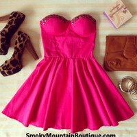 Sexy Fushia Pink Bustier Dress with Studs and with Adjustable Straps - Size XS/S/M