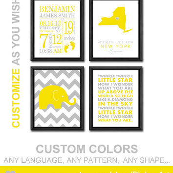 custom birth announcement gifts baby birth date birth statistics elephant baby stats nursery quote birth print baby sign nursery birth art