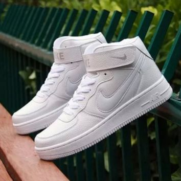 NIKE Women Men Running Sport Casual Shoes Sneakers Air force Hight tops Full color White white hook