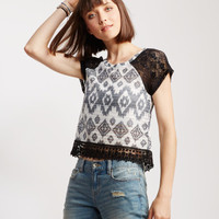 Sheer Ikat Lace Accent Top - Aeropostale