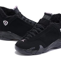Hot Air Jordan 14 Wool Women Shoes Black Silver Pink