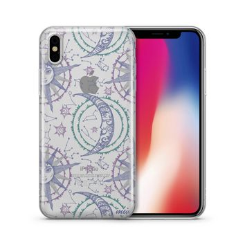 Henna Crescent Sun And Moon - Clear TPU Case Cover Phone Case