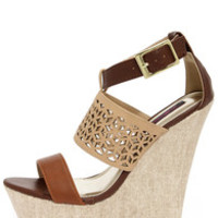 Dollhouse Status Brown Super Platform Wedge Sandals