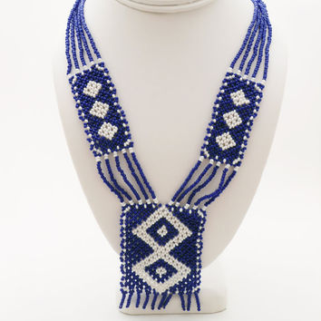 Vintage Glass Seed Bead Necklace, Native American Style, Geometric Design