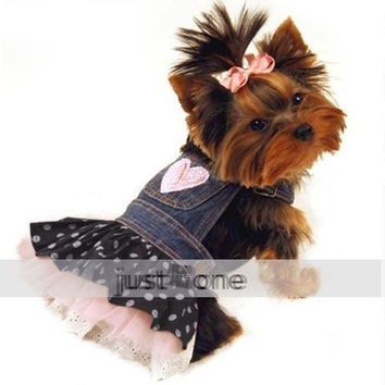 Pet DOG APPAREL Clothes Costume Dress Denim Tutu Skirt XS, S M L XL For wedding@LJK