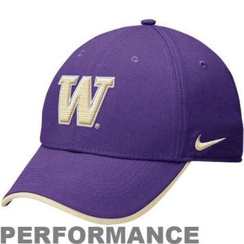 Nike Swoosh Washington State Huskies Legacy 91 Dri-fit Adjustable 2012 Coaches Sideline Hat - Purple White