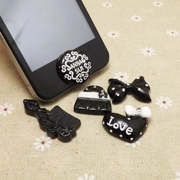Black Series Anna Sui Bowknot Bandbag Comb Love Makeup Home Button Sticker for iPhone 3,4,4s,5,ipad 2,3,4,iPod Touch 2,3,4,5