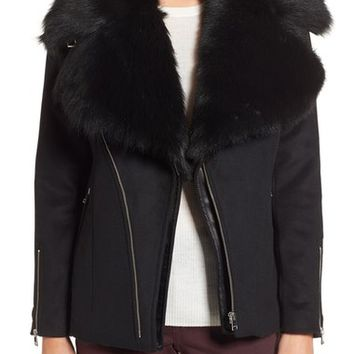 LaMarque Wool Blend Moto Jacket with Detachable Genuine Shearling Collar | Nordstrom