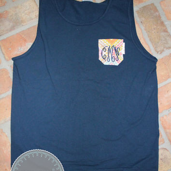 Monogrammed Navy Blue Comfort Colors Tank with Moroccan Fabric Pocket