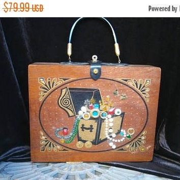 Now On Sale Vintage Wooden Treasure Chest Jeweled Purse - Mid Century 1960's 1970's Handbag - Retro Rockabilly Accessories - Boho Hippie Bag