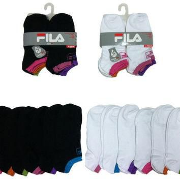 Women's FILA Brand No-Show Sock 6-Packs- Size 9-11