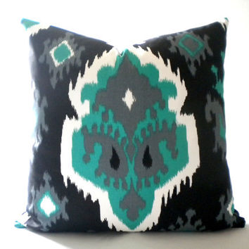 Black Grey and Jade Ikat print pillow cover, Fabric both sides, all sizes available