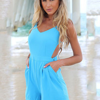 Blue Backless Spaghetti Strap V-neck Romper