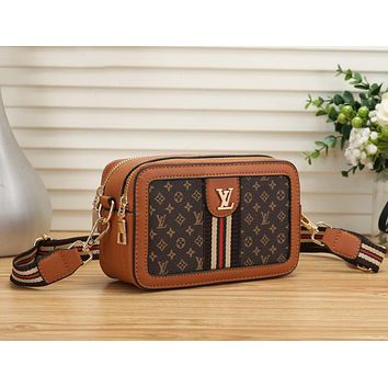 LV Newest Fashionable Women Leather Shoulder Bag Crossbody Satchel Brown