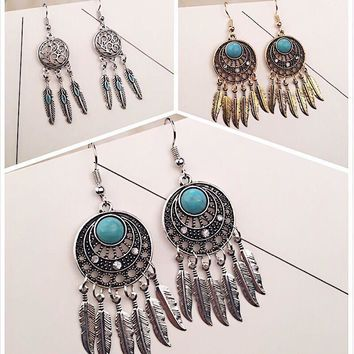 Vintage Earrings Leaf Tassels Turquoise Feather Dream Catcher [11573014036]