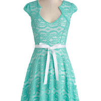 ModCloth Pastel Mid-length Cap Sleeves A-line Sweet Staple Dress in Aqua