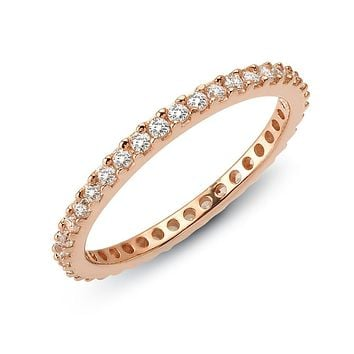 Lafonn Classic Sterling Silver Rose Gold Plated Simulated Diamond Ring (0.57 CTTW)