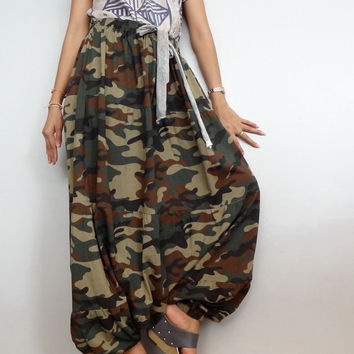 Women Ruffle Long Pant, Casual Gypsy,Yoga,Drop Crotch Bohemian,Cotton Blend in Green CAMO Print (Pant-RM12).