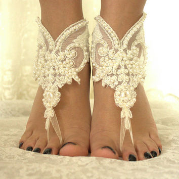 İvory lace.Barefoot Sandals, french lace, Nude shoes, , Foot jewelry,Wedding, Victorian Lace,Bridal Anklet , Belly Dance