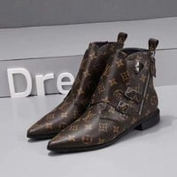 LV Louis Vuitton Woman Genuine Leather Fashion Coffee Casual Boots Sneakers Shoes