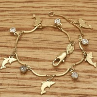 Gold Filled Womens Fancy Bracelet, Dolphin Style, with White Cubic Zirconia, Polished, 3mm Wide, 7 In By Folks Jewelry.