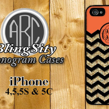 Monogram Orange Gold Iphone 6 Case Glittery Chevron iPhone 4 5 5C Case Zig Zag Personalized Ipod Touch Cover Not Actual Glitter