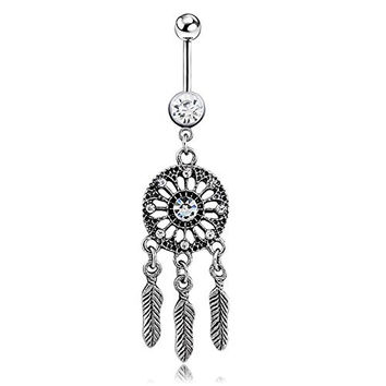 Sunshinesmile Crystal Ball Dream Catcher Dangle Navel Belly Button Bar Barbell Ring Body Piercing New