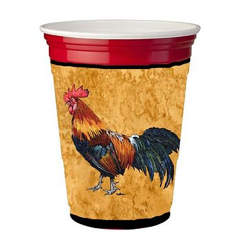 Bird - Rooster  Red Solo Cup Beverage Insulator Hugger