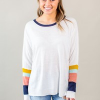 Multi Color Sleeve Sweater- Ivory