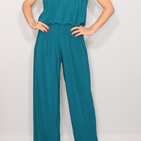 Teal jumpsuit Women Wide leg jumpsuit Halter jumpsuit