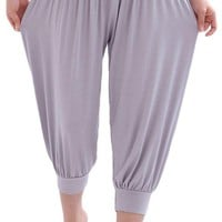 AvaCostume Modal Cotton Soft Yoga Sports Dance Harem Capri Pants, M, Lightgrey