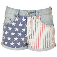 MOTO Bleach Flag Print Hotpants - Topshop USA