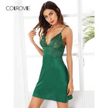 COLROVIE Scalloped Lace Sexy Nightdress Green Sheer Cami Nightgown Women Sleeveless Lingerie 2017 Ladies Vintage Strap Nightgown