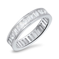 925 Sterling Silver CZ Baguette Simulated Diamond Eternity Ring 5MM