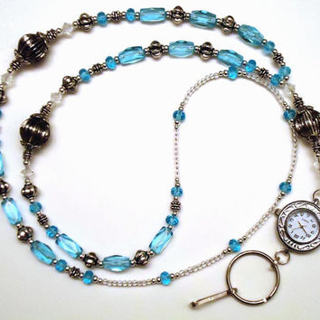 Swarovski Crystal Blue Glass Beads Silver Watch Beaded Lanyard ID Badge Holder
