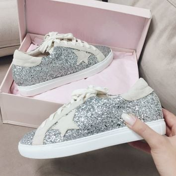 Perry Silver Glitter Star Sneakers