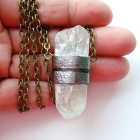Crystal Quartz Necklace - Leather Wrapped Pendant- Raw Crystal Jewelry