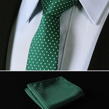 Green Polka kinny Narrow Men Tie Necktie Handkerchief Pocket Square Suit Set