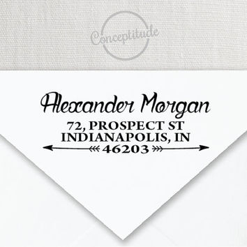 Personalized Self Inking Return Address Stamp, Vintage Handwritten Font with Arrows 008