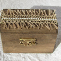 Shabby Rustic Woodland Cottage CHic Wedding Ringbearer Box With Burlap and Pearls