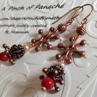 Red Coral and Pink Freshwater Pearl Steampunk Earrings, Pink Pearl Earrings, Red Steampunk Earrings, Steampunk Earrings, Pink Pearl Earrings