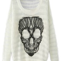 ROMWE | ROMWE Hollow-out Lace Skull Appliqued White Jumper, The Latest Street Fashion