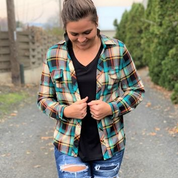 Turquoise & Mustard Plaid Flannel (SM-3X)