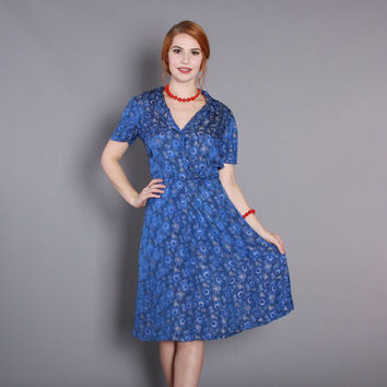 Early 1950s Silk Jacquard Cocktail DRESS / Vintage 50s Royal Blue Floral Silk Dress, s
